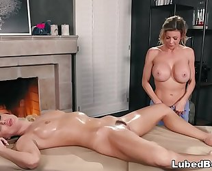Busty client enjoys her 1st thai massage # natalia starr and alexis fawx