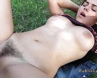 Busty and unshaved italian student copulates in the park pov