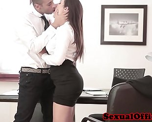 Beautiful office worker can not keep legs closed