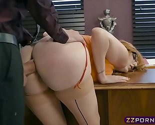 Busty office playgirl working on her promotion by offering anal