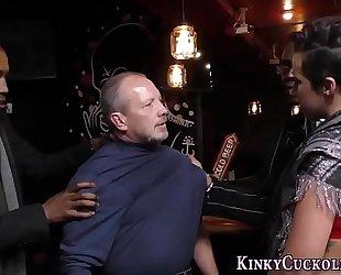 Kinky white bitch receives bbc cum