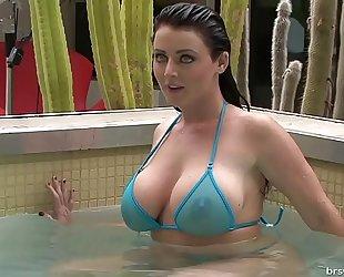 Soaking juicy sheer micro bikinis