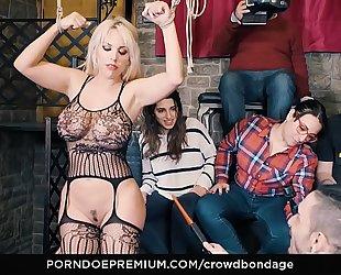 Crowd servitude - resigned latin babe blondie fesser coarse sadomasochism sex