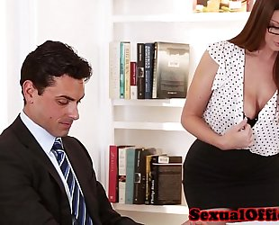 Busty secretary getting drilled on table