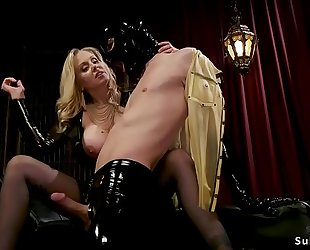 Busty blond mistress anal bonks thrall