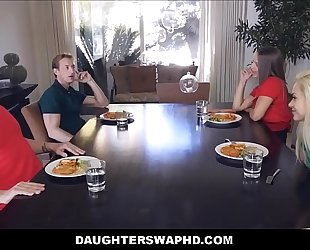 Two dad's exchange fuck their daughters