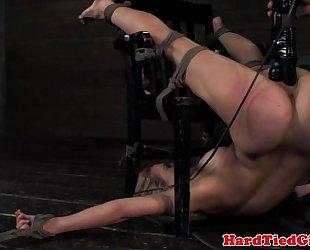 Blondes snatch drilling in bondagechair