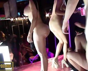 Brunettes bigbutt latin sisters fuckfest on stage