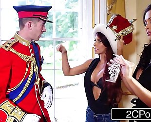 Big tit maid aletta ocean and excited tourist madison ivy engulf british royal 10-Pounder