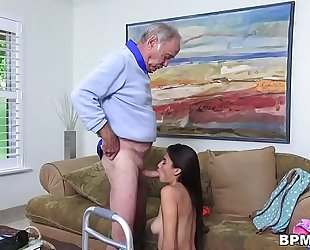 Petite lalin girl michelle martinez gives oral sex to grand-dad