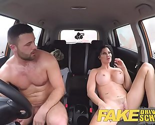 Fake driving school fortunate youthful chap enticed by his breasty milf examiner