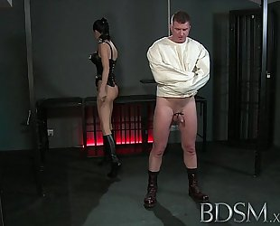 Bdsm xxx thrall chap in str8 jacket and anal hook swings brick from his balls to please his mistre