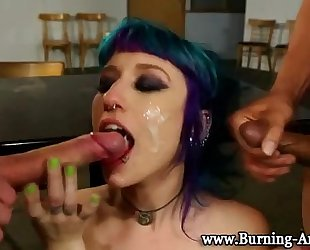 Goth punk black cock sluts fuck and facial