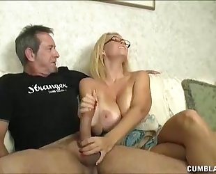Huge-titted milf enjoys jerking knobs