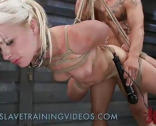 Bound blond wazoo whipped and screwed