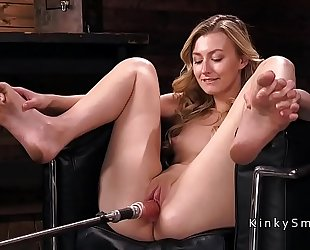 Small tittied golden-haired fucking machine