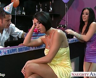 Busty sweethearts dylan ryder and jayden jaymes sharing a chap at party
