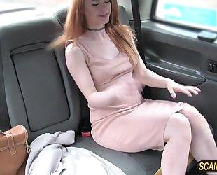 Skanky ella sucks and copulates in taxi to acquire a free ride