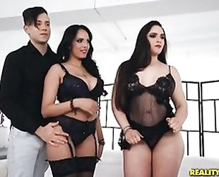 Two horny latinas getting their moist pussies wrecked
