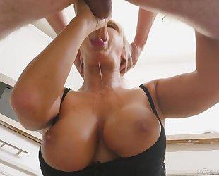 Blonde MILF rewards lucky guy with a sloppy blowjob