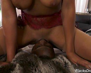 Busty ebony shares meaty schlong with her milky-skinned friend