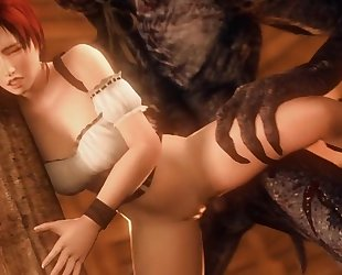 Slutty red riding hood gets DPed by two scary werewolves