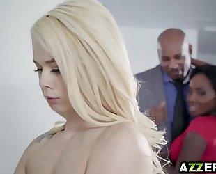 Petite blond elsa jean hawt three-some interracial fuck