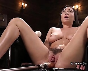 Curved breasty chick fucking machine and squirting