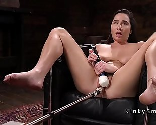 Natural breasty playgirl acquires anal fucking machine