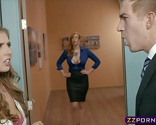 Office boss copulates his secretary and a breasty milf assistant