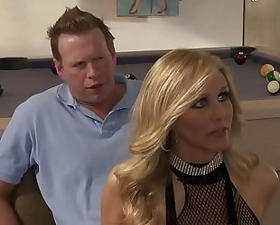 Sexy golden-haired disrobe white wife three-some alexis texas and julia ann